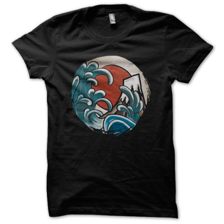 Hokusai Tee Shirt Comic Black