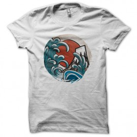 White Tee Shirt Hokusai Japan