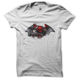 tee shirt batman and superman blanc