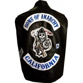 veste sons of anarchy first 9 cuir  et patchs brodés