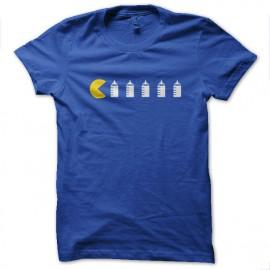 tee shirt Pac man funny bleu