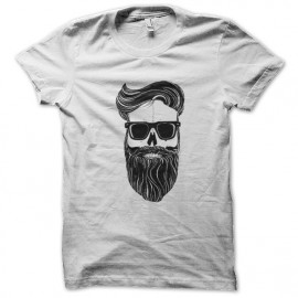 tee shirt skull beard blanc