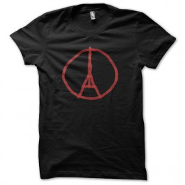 tee shirt paris peace eiffel noir