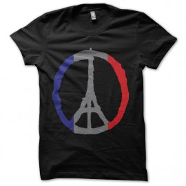 tee shirt paris pray peace noir