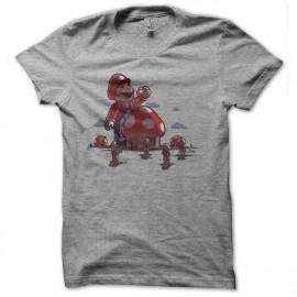tee shirt mario mange les Schtroumpfs gris