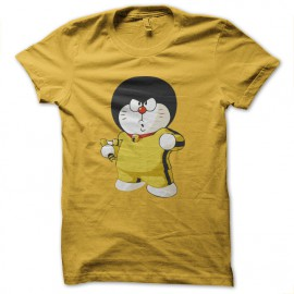 bruce lee shirt doremon yellow