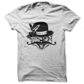 tee shirt chat moustache blanc