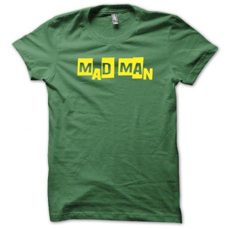 Tee shirt Mad Man jaune/vert bouteille