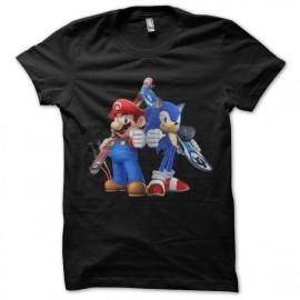 t-shirt mario & sonic black