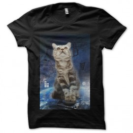 t-shirt cat techno in da space