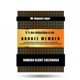 Membership card vip bronze 5% discount for life