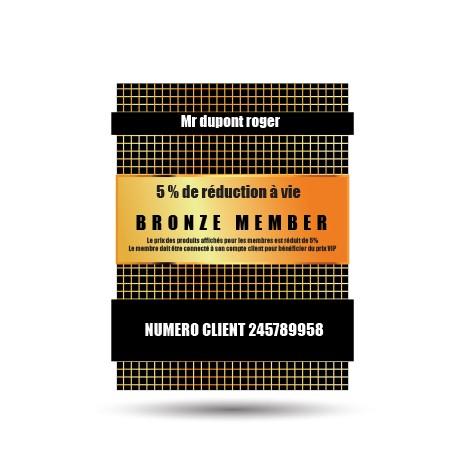 Carte de membre vip bronze 5% de reduction à vie