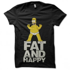 tee shirt homer simpson fat and happy