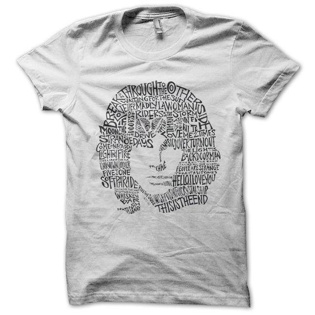 6ead8160fbd Tee Shirt The Doors Jim Morrison titres chansons blanc