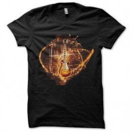 tee shirt gibson guitare fire
