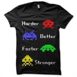 tee shirt harder better faster stronger space invaders