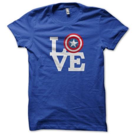 Captain America T Shirt Love Blue