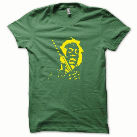 Tee shirt Jimi Hendrix Jaune/vert Bouteille
