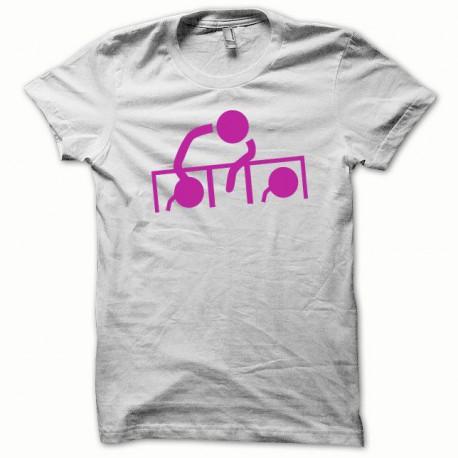 Tee shirt Dj at work rose/blanc