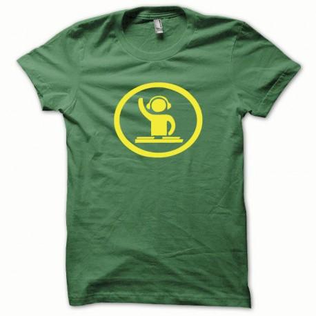 Tee shirt Dj at work jaune/vert bouteille