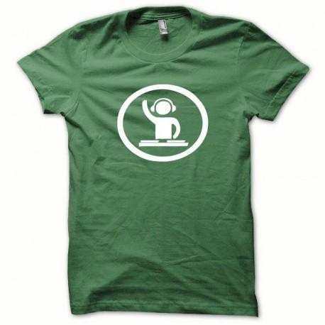 Tee shirt Dj at work blanc/vert bouteille