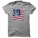 Tee shirt USA Peace and Love Woodstock 69 Gris