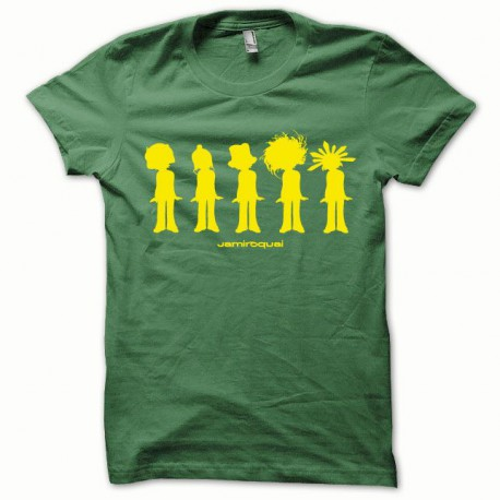 Tee shirt Jamiroquai jaune/vert bouteille