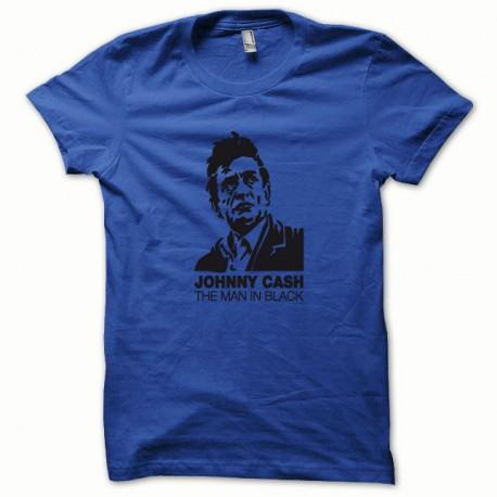 Tee shirt Johnny Cash noir/bleu royal