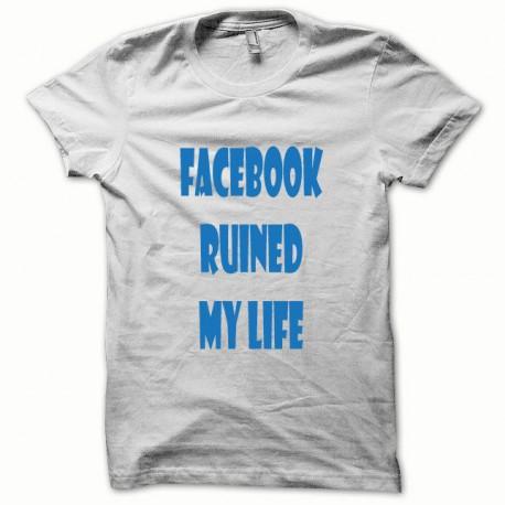 Tee shirt Parodie Facebook Ruined my Life bleu/blanc