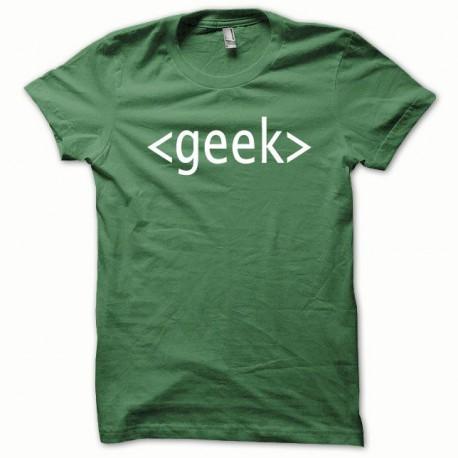 Tee shirt GEEK blanc/vert bouteille