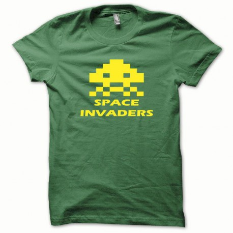 Tee shirt Space Invaders jaune/vert bouteille