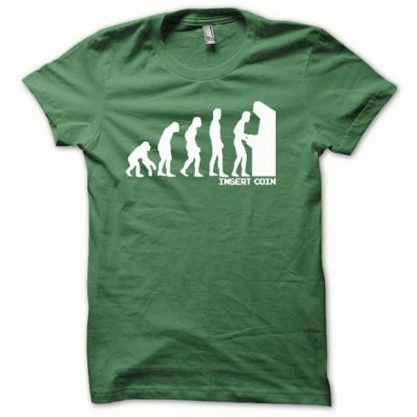 Tee shirt Evolution Insert coin blanc/vert bouteille