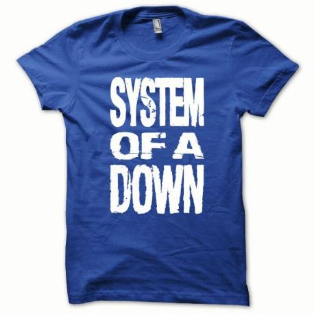 Tee shirt System of a Down blanc/bleu royal