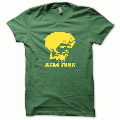 Tee shirt Afro Funk jaune/vert bouteille