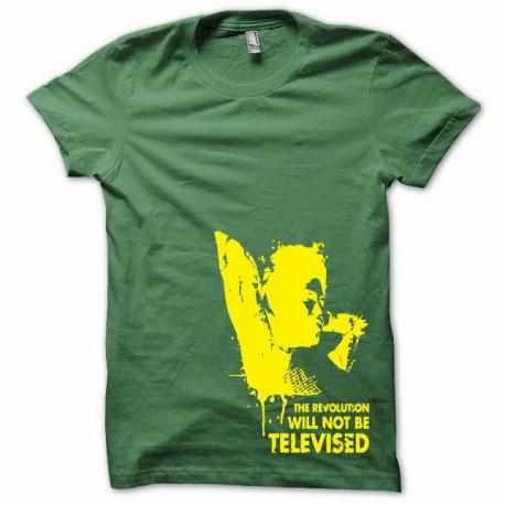 Tee shirt Afro Revolution jaune/vert bouteille
