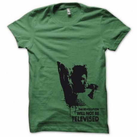 Tee shirt Afro Revolution noir/vert bouteille