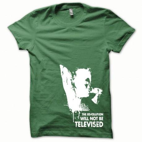 Tee shirt Afro Revolution blanc/vert bouteille