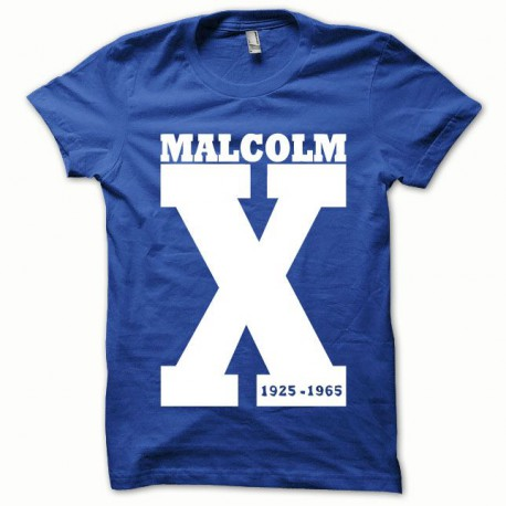 Tee shirt Malcom X blanc/bleu royal
