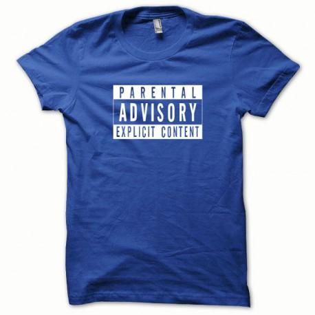Tee shirt Parental Advisory blanc/bleu royal